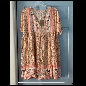 NWT red dress boutique baby doll dress